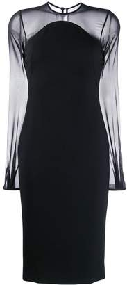 Victoria Beckham sheer sleeves fitted dress