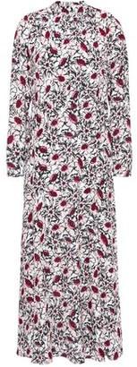 Markus Lupfer Tara Tie-neck Floral-print Crepe Midi Dress