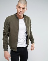Brave Soul Ruched Sleeve Bomber Jacket