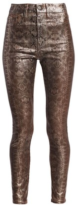 7 For All Mankind High-Rise Python Print Ankle Skinny Jeans