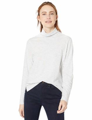 Goodthreads Vintage Cotton Roll-Sleeve V-Neck T-Shirt White Mini Stripe Medium