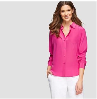 Joe Fresh Women's Long Sleeve Silk Shirt, Fuchsia (Size S)