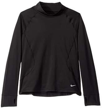 Nike Kids Dri-Fit Warm Long Sleeve Top (Little Kids/Big Kids) (Black/White) Girl's Clothing