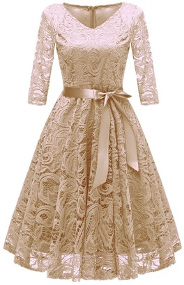 Nuur Women's Dress Party Lace Vintage Midi-Length Full Swing Skirt Champagne L