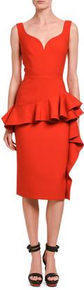 Alexander McQueen Wool-Silk Sweetheart-Neck Ruffle Front Dress
