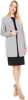 Le Suit LeSuit Women's Plaid Tweed Collarless Topper Dress Suit