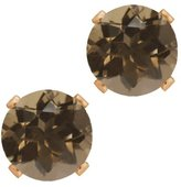 Gem Stone King 1.60 Ct Round 6mm Shape Smoky Quartz Rose Gold Plated Silver Stud Earrings