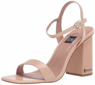 ZAC Zac Posen Women's Single Banded City Sandal with Buckle and Quarter Strap Closure and Signature Heel Pump