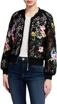 Floral Embroidered Lace Bomber Jacket