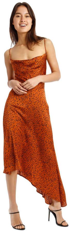 Missguided Spot Print Cowl Neck Aysmmetric Midi Dress