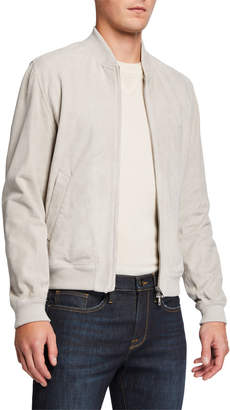 Valstar Men's Goat Suede Bomber Jacket with Shearling Collar