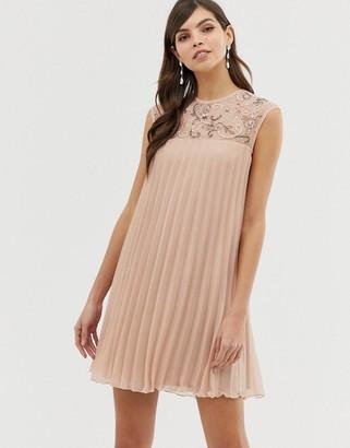 Asos Design DESIGN sleeveless trapeze pleated mini swing dress with embellished yoke-Pink