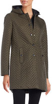 Larry Levine Hooded Chevron Coat