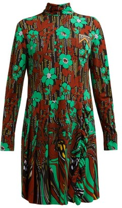 Prada Logo-plaque Floral-print Pleated Dress - Green Multi