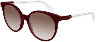 Gucci Round Gradient Sunglasses w/ Transparent Arms