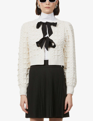 Alice + Olivia Kitty cropped knitted cardigan