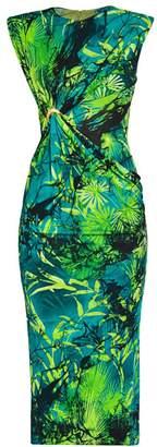 Versace Sleeveless Jungle-Print Midi Dress