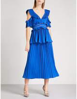 Self-Portrait Pleated crepe midi dress