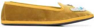 Giannico Embellished Velvet Slippers