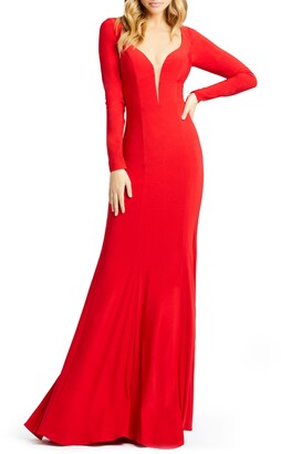Mac Duggal Long Sleeve Jersey Gown with Train