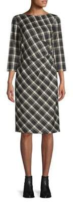 Max Mara Fiorina Plaid Side Ruch Wool-Blend Shift Dress