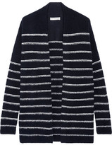 Vince Striped Wool-blend Bouclé Cardigan - Midnight blue
