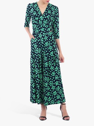 Jolie Moi Spot Print Wrap D-Ring Jumpsuit, Green