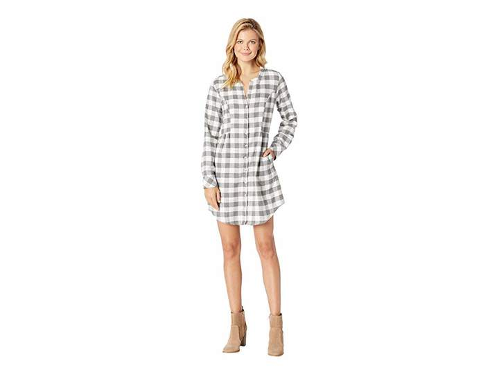 Mod-o-doc Buffalo Check Flannel Mandarin Collar Button Front Tunic Dress