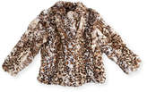 Adrienne Landau Leopard-Print Fur Biker Jacket, Size 2-14