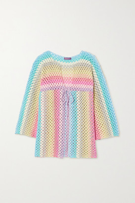 Rose Carmine Striped Crocheted Cotton Sweater - Pink