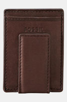 Fossil Men's 'Ingram' Leather Magnetic Money Clip Card Case - Brown