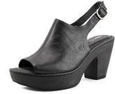 Børn Fatema Peep-toe Leather Slingback Heel.