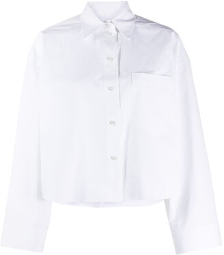 Valentino Cropped Boxy-Fit Buttoned Shirt