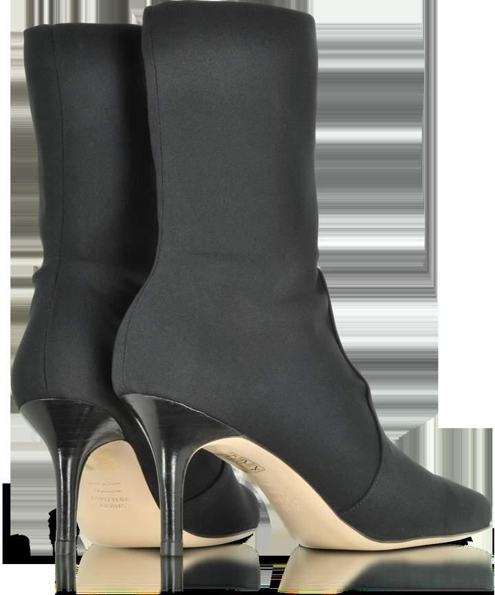 Stuart Weitzman Axiom Black Micro Stretch Fabric Pointed Toe Heel Booties