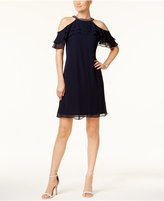 MSK Embellished Ruffled Shift Dress