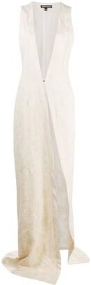 Ann Demeulemeester Sleeveless Brocade Pattern Coat