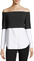 Brandon Thomas Off-the-Shoulder Mixed-Media Blouse