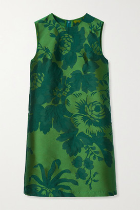 Carolina Herrera Floral-jacquard Mini Dress - Green