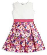 Oscar de la Renta Toddler's, Little Girl's & Girl's Rainbow Dahlia Mikado Silk Blend Party Dress