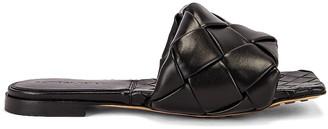 Bottega Veneta Tubolare Intreccio Flat Sandals in Black | FWRD