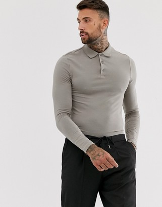 ASOS DESIGN organic muscle fit long sleeve jersey polo in beige