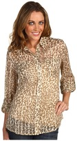 Lucky Brand Jane Animal Print Blouse (Natural Multi) - Apparel