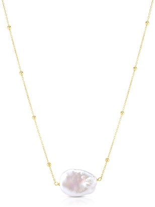 Sphera Milano 14K Yellow Gold Plated Sterling Silver Freshwater Pearl Pendant Necklace