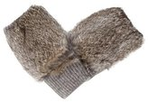 Adrienne Landau Rabbit Fur-Trimmed Fingerless Gloves