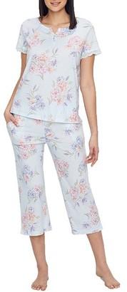 Karen Neuburger Floral Knit Cropped Pajama Set