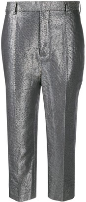 Rick Owens Metallic Cropped Trousers