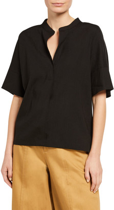 Vince V-Neck Short-Sleeve Linen Popover Top