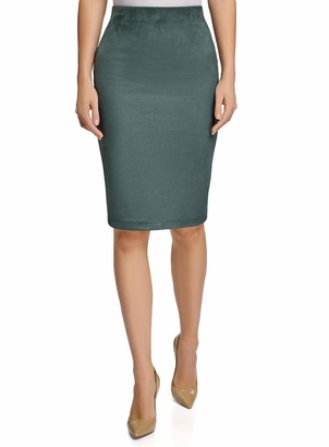 oodji Ultra Womens Faux Suede Skirt with Elastic Waistband
