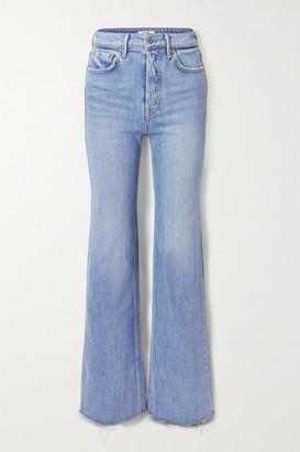 GRLFRND Carla Frayed High-rise Wide-leg Jeans - Mid denim