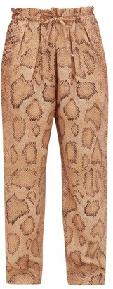 Mara Hoffman Valerie Snake-print Paperbag-waist Trousers - Womens - Cream Print